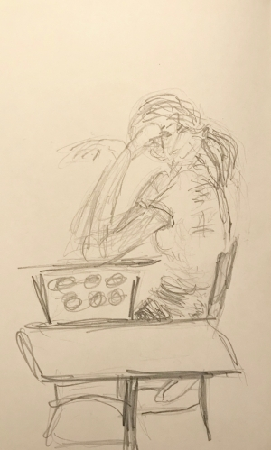 Sketch: Pencil - Young Lady with Enormous Forearm, Concentrating