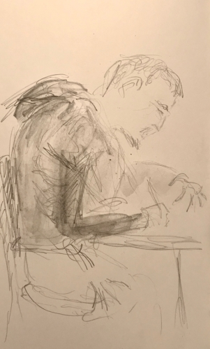 Sketch: Pencil - Young Man Anxiously Writing