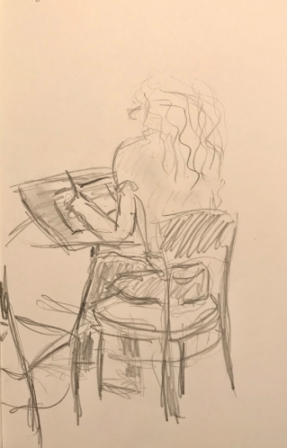 Sketch: Pencil - Young Woman with Long Wavy Hair