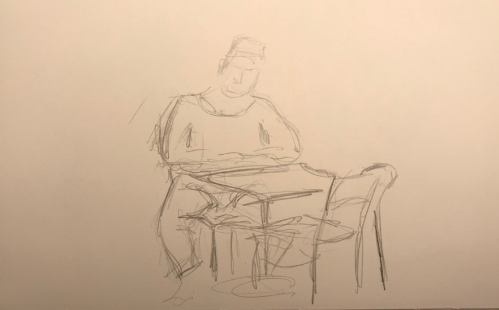 Sketch: Pencil - Big Person with Little Cane