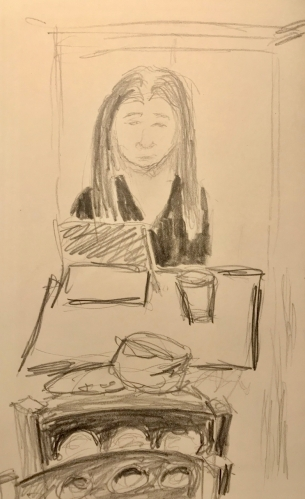 Sketch: Pencil - Girl Looking at Propped-Up Laptop