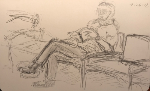 Sketch: Pencil - Husband Waiting for Wife Who Probably Had Her Eyes Dilated