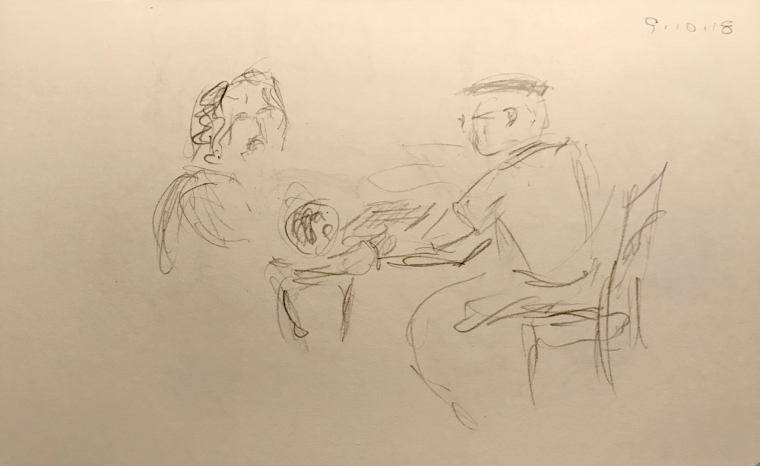 Sketch: Pencil - Kibitzing at a Chess Game
