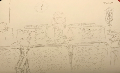 Sketch: Pencil - Lone Woman in Waiting Room