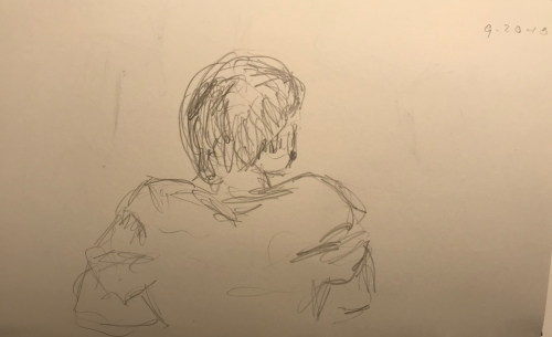 Sketch: Pencil -Looking at a Girl