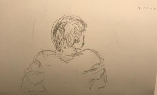 Sketch: Pencil -Looking at a Girl