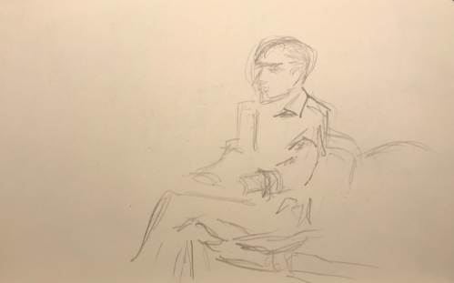 Sketch: Pencil - Man in Sharply-Ironed Clothes