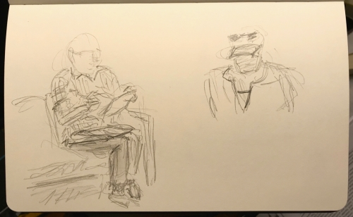Sketch: Pencil - Man Reading Magazine Waiting for Wife and Woman Across the Room