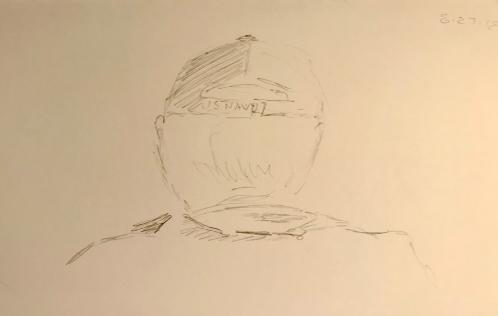 Sketch: Pencil - Man with US Navy Ball Cap