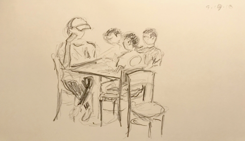 Sketch: Pencil - Mother and Two Point Five Kids