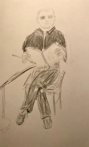 Sketch: Pencil - Proper Man Reading a Magazine