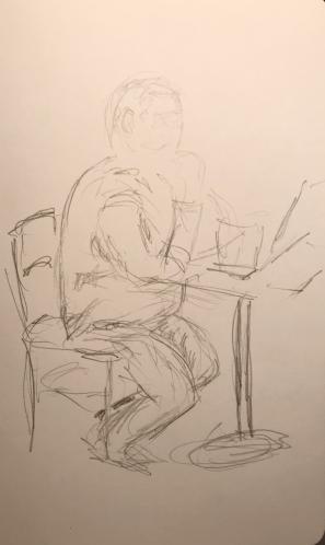 Sketch: Pencil - Uncomfortable Man