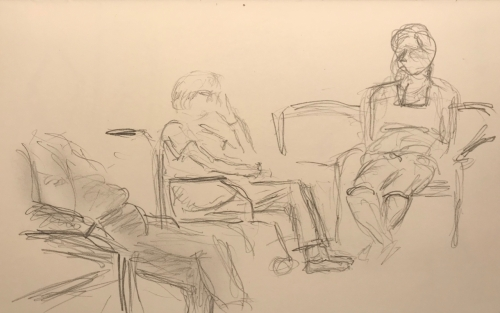 Sketch: Pencil - Woman in Wheelchair Waiting with Home Aid and Daughter