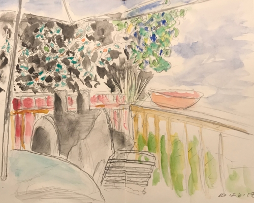 Sketch: Pencil and Watercolor - Back Yard Sketch, Colored