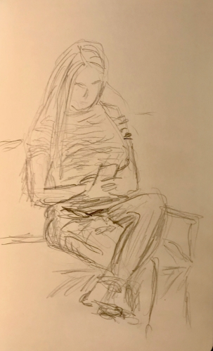 Sketch: Pencil - Girl Reading Cell Phone While Waiting
