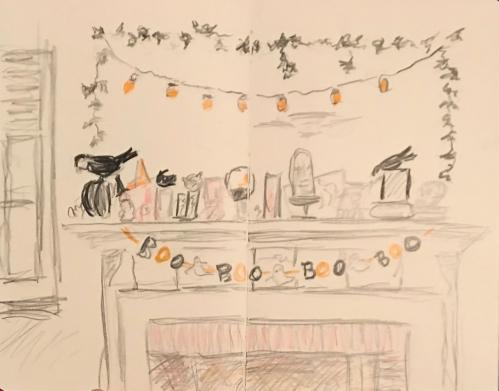 Sketch: Colored Pencil - Halloween Mantle