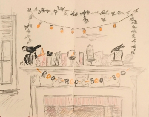 Sketch: Colored Pencil - Halloween Mantle