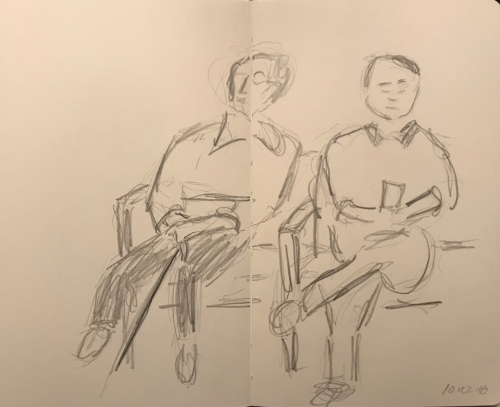 Sketch: Pencil - Leaning Person Sitting Next to a Straight Person