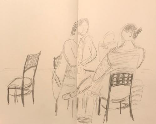 Sketch: Pencil - Lunch Conversation Between Friends
