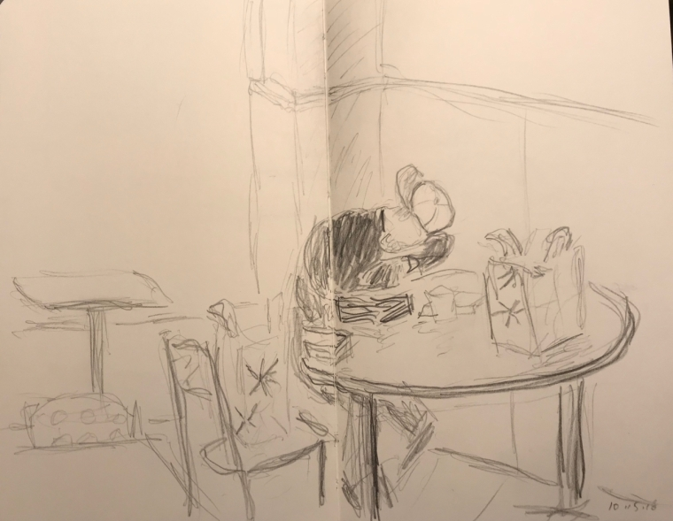 Sketch: Pencil - Man Resting Up So He Can Read