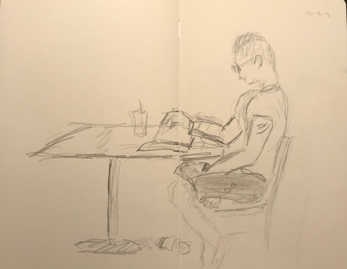 Sketch: Pencil - Man with Bare Foot Under Other Leg