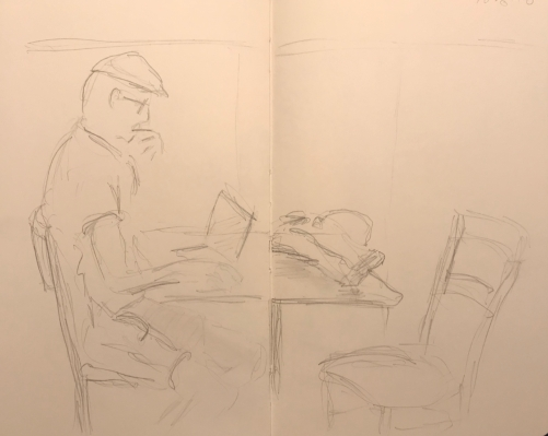 Sketch: Pencil - Man with Cool Hat Pondering the Screen
