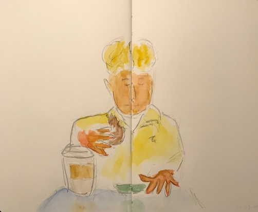 Sketch: Pencil and Watercolor - Man with Hair Parted Down the Middle Eating and Working His Phone