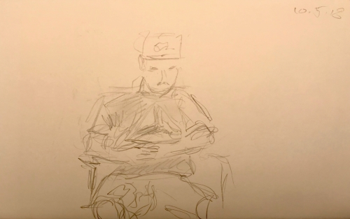 Sketch: Pencil - Man with Hat in Orthopedic Waiting Room