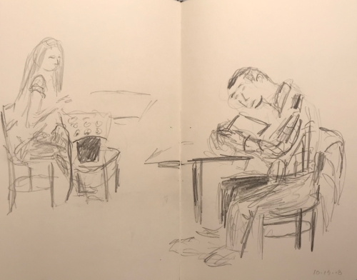 Sketch: Pencil - Nearsighted Man Really interested in a Book Sitting Opposite to a Disinterested Person