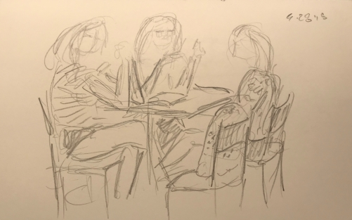 Sketch: Pencil - Niece and Two Aunties