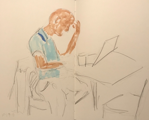 Sketch: Pencil and Marker - Partially Markered-Up Man at Table