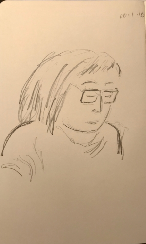 Sketch: Pencil - Portrait of Young Woman Reading Aloud