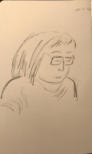 Sketch: Pencil - Portrait of Young Woman Reading Aloud