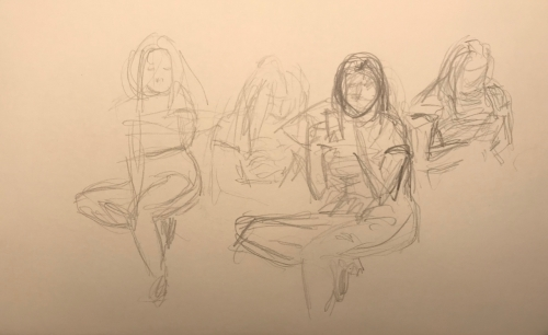 Sketch: Pencil - Study - Girl Reading Cell Phone While Waiting
