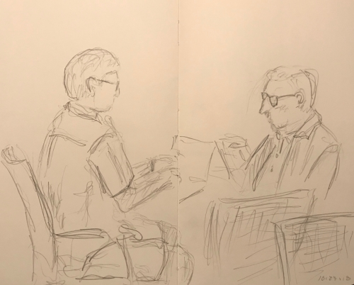 Sketch: Pencil - Two Guys Waiting for Their Cars at the Dealer