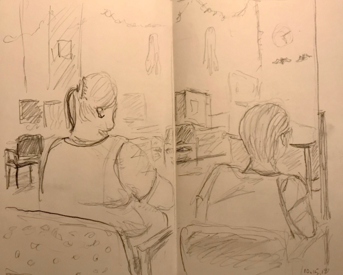 Sketch: Pencil - Waiting Amongst Halloween Decorations
