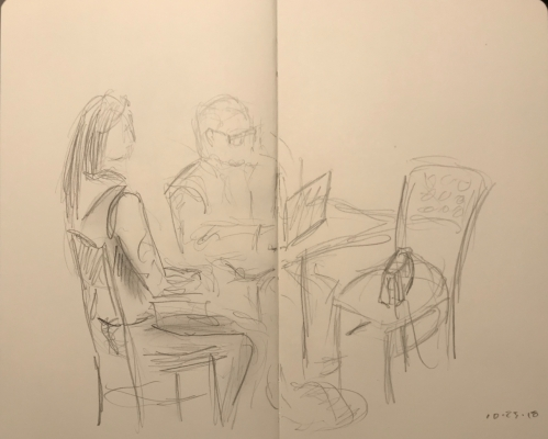 Sketch: Pencil - Waiting for Him to Set Up the Computer in Some Secret Configuration