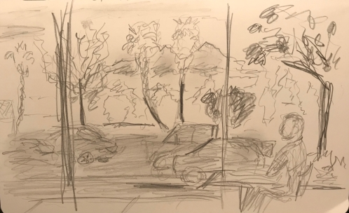 Sketch: Pencil - Portrait of Waiting Person in Context