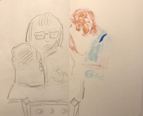 Sketch: Pencil and Bleed-Through - Woman at Table with Big Mistake