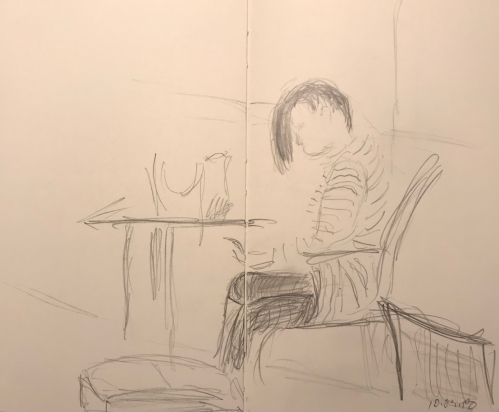 Sketch: Pencil - Young Woman with her Hair Messed Up Waiting for Her Car