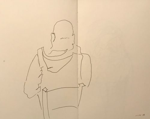 Sketch: Pen and Ink - Blind Drawing of Back of Bald Man