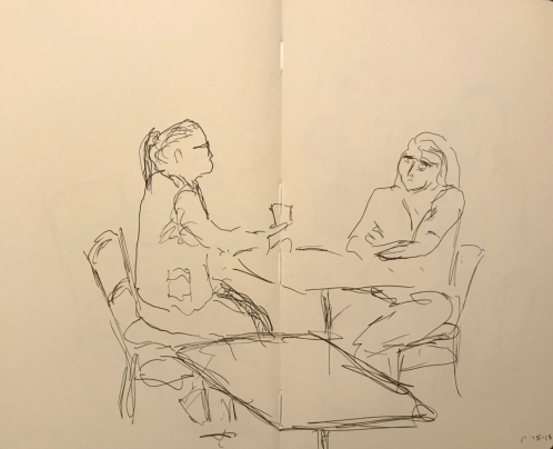 Sketch: Pen and Ink - Blind Drawing of Two Ladies at Coffee