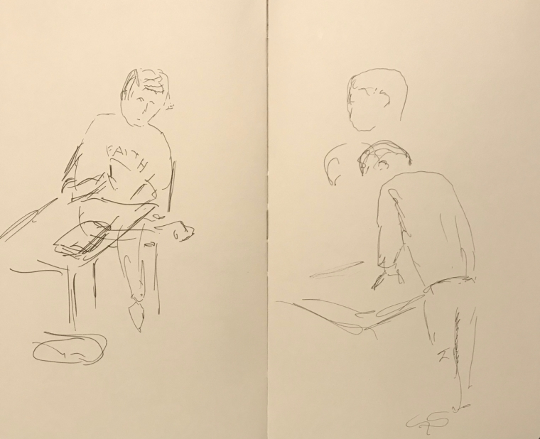 Sketch: Pen and Ink - Woman with Faith Sweatshirt and Man Leaning Over His Drawing