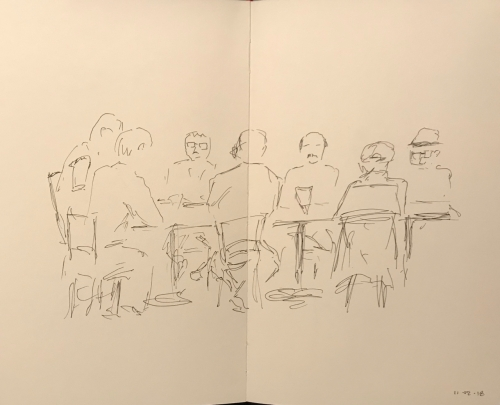 Sketch: Pen and Ink - Morning Men's Meeting