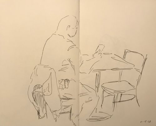 Sketch: Pen and Ink - Mostly-Blind Drawing of Man at Next Table