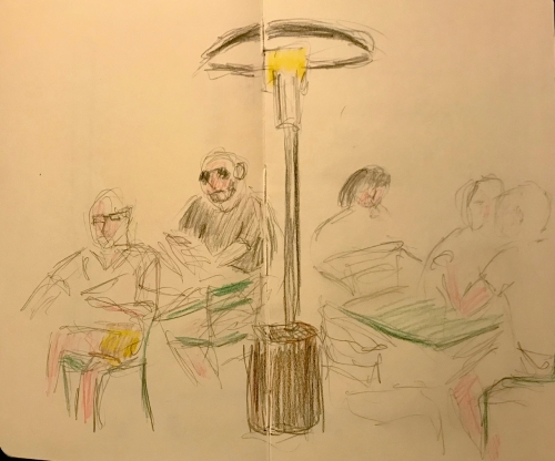 Sketch: Colored Pencil - Museum Patrons at Lunch