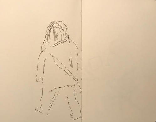 Sketch: Pen and Ink - Person Walking Semi Blind Drawing