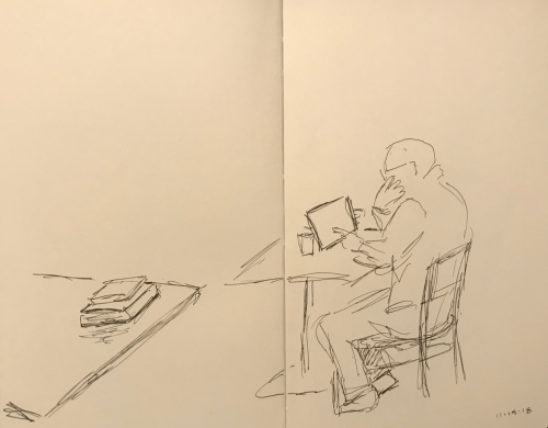 Sketch: Pen and Ink - Semi Blind Drawing of Man in Contemplation