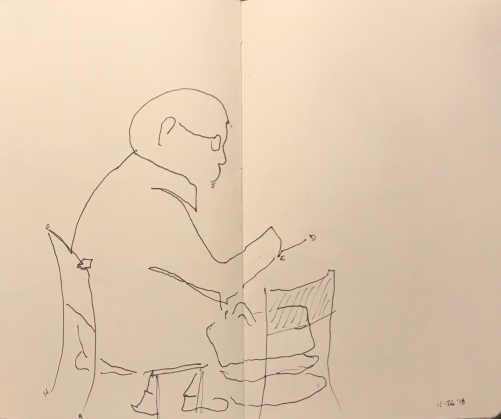 Sketch: Pen and Ink - Sitting Man, Drawn Blind