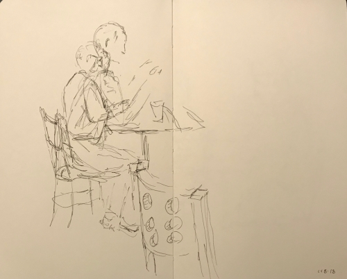 Sketch: Pen and Ink - Sketch of Man Interrupted by Another Man